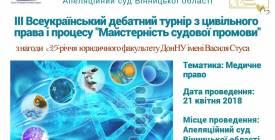 """Всеукраїнський цивілістичний дебатний турнір """"Майстерність судової промови"""""""
