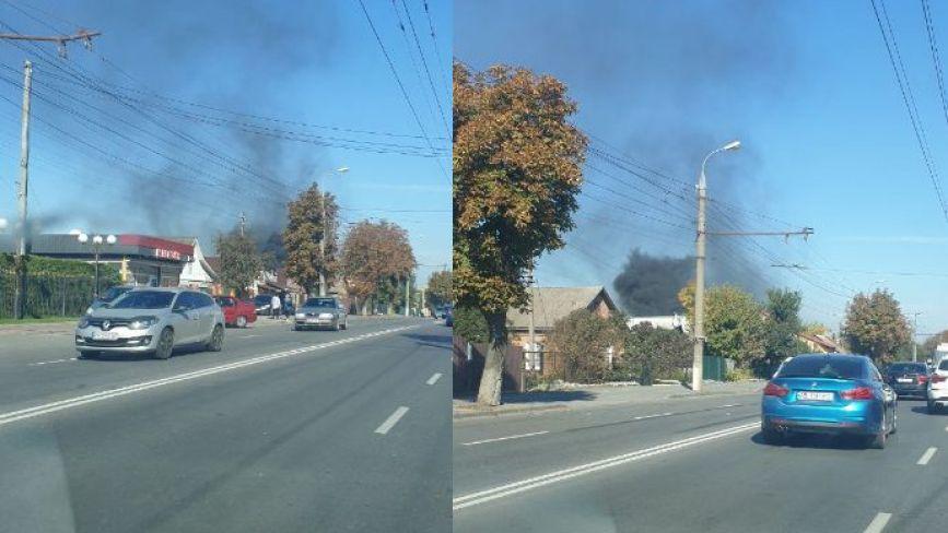 Пожежа у новобудові на вулиці Київській. Стовп диму було видно далеко