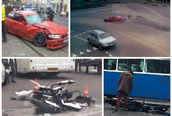 ДТП з мотоциклістом на площі Гагаріна зняла камера спостереження (ВІДЕО)