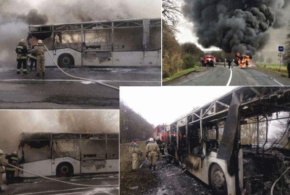Під Немировом горів автобус. Відео від очевидців (ОНОВЛЕНО)