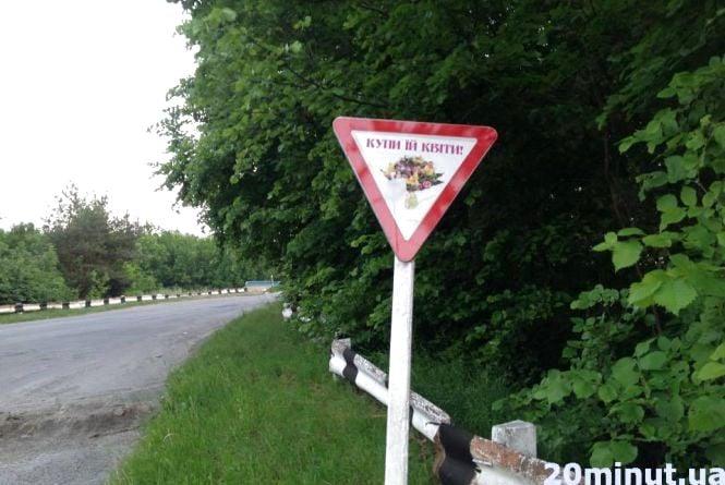 Фото дня: на в'їзді в Гнівань встановили дорожній знак для чоловіків
