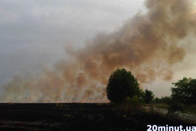 Масштабна пожежа під Вінницею: згоріло поле пшениці. Дим був до неба