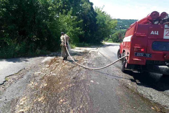 На Вінниччині невідомі виляли на дорогу меляс. Очищали дорогу рятувальники