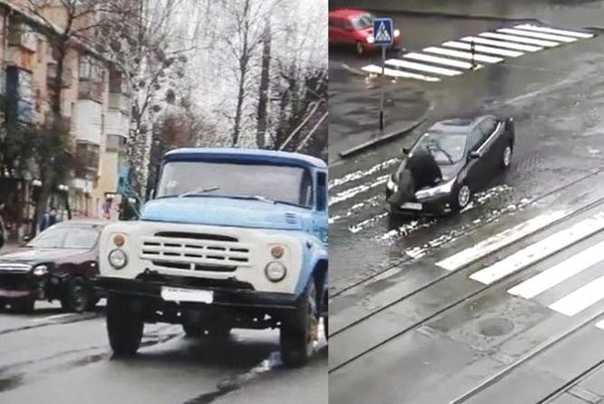 На Київській «ЗАЗ» врізався у «ЗІЛ», а на Соборній водійка збила людину. Відео за вівторок
