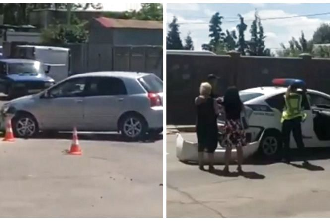 На Вишеньці зіткнулися дві «Тойоти». Одна з них — поліцейська (ВІДЕО)