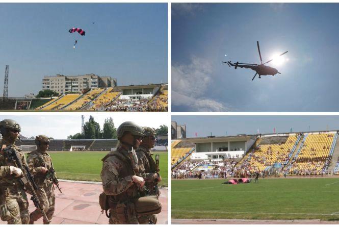 Авіашоу, постріли та футбол: як на міський стадіон висадився десант