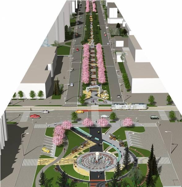 Вид зверху: пішохідний фонтан на Келецькій, арка на третій частині проспекту та сакури.