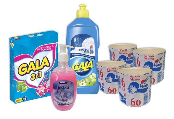 """Набір №7 """"Побутовий"""": туалетний папір - 4шт; мило рідке - 1шт (300мл); засіб для миття посуду - 1шт (500мл); пральний порошок для автоматичних машин- 1уп (400гр)."""